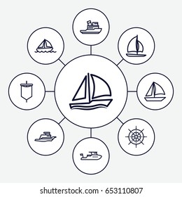 Yacht icons set. set of 9 yacht outline icons such as boat, ship, helm, sailboat