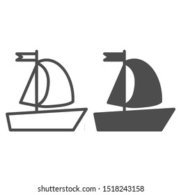 Yacht line and glyph icon. Sailboat vector illustration isolated on white. Boat with flag outline style design, designed for web and app. Eps 10