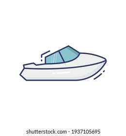 Yacht Line Icon Isolated On White Background