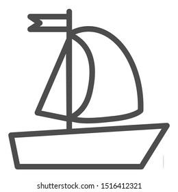 Yacht line icon. Sailboat vector illustration isolated on white. Boat with flag outline style design, designed for web and app. Eps 10