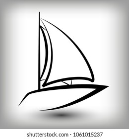 Yacht  logo templates. Sail boat silhouettes. Line  sail icon, vector illustration. Yachting and regatta symbols