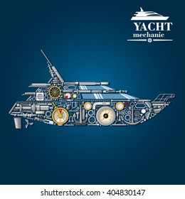 Yacht mechanics scheme with motor boat formed of engine parts and anchor, helm and propeller, rudder and portholes, engine order telegraph, barometer and handrail, cabin windows and chainplates