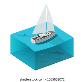 Yacht in the ocean with sharks. Isometric vector illustration