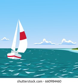 Yacht on sea with summer tropical beach vector illustration