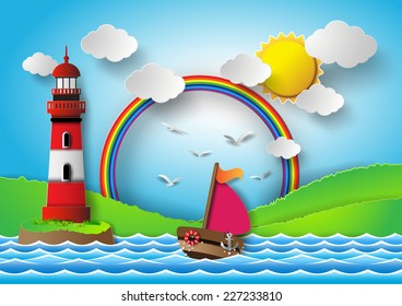 yacht on sea with sun bream and rainbow. paper art style.