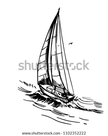 Yacht On Water Hand Drawn Outline Stock Vector Royalty Free
