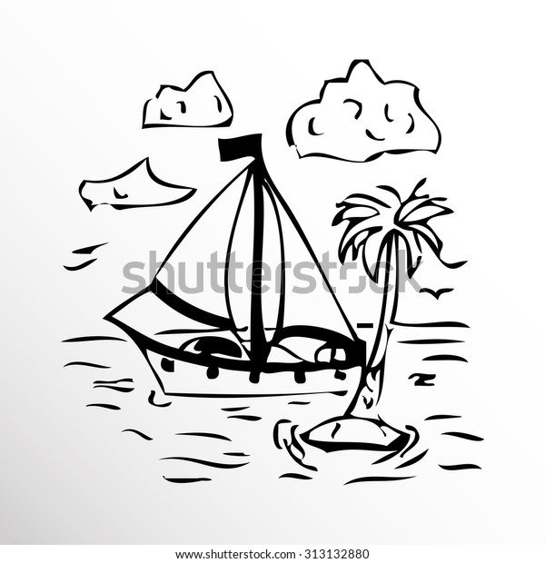 Yacht Palm Trees Drawing Sketch Style Stock Vector (Royalty