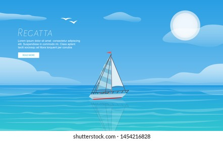 Yacht regatta on wave blue sea ocean vector template. Yachting summer vacation sport travel adventure background. Sailing boat regatta for sport recreation webpage concept