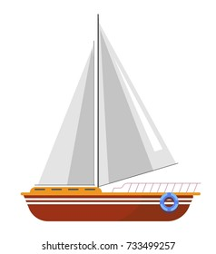 Yacht sailboat or sailing ship, sail boat marine cruise travel vector icon