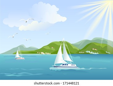 yacht, sea and mountains. vector illustration