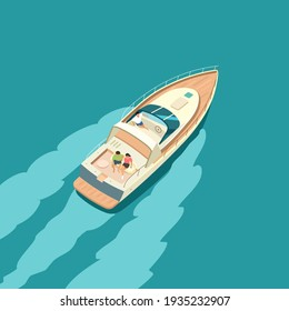 Yacht at sea with people resting. Summer vacation on a yacht. Flat vector illustration