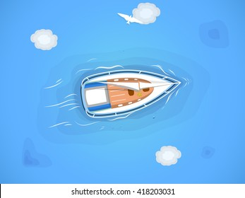 Yacht in the sea. Top view through the clouds on a white yacht sailing, floating on the waves of the sea. Vector illustration