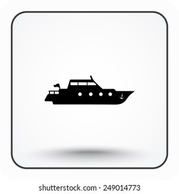 Yacht sign icon, vector illustration. Flat design style