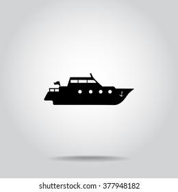 Yacht sign icon, vector illustration. Flat design style