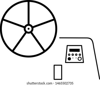 Yacht steering wheel icon in outline style. Coloring template for modification and customizing  according to a specific task.