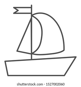 Yacht thin line icon. Sailboat vector illustration isolated on white. Boat with flag outline style design, designed for web and app. Eps 10