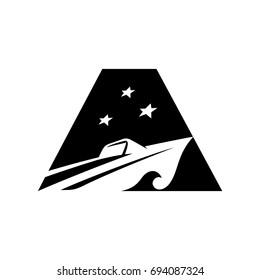 yacht vector logo. letter aa vector logo.