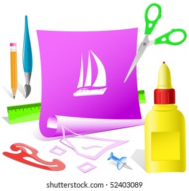 Yacht. Vector paper template.