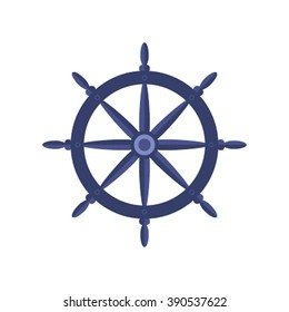 Yacht wheel lat vector illustrations isolate on a white background