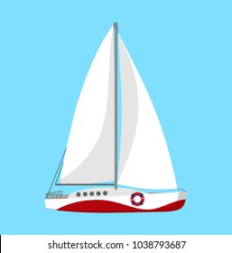 Yacht with white sails, isolated on blue background, cartoon flat style vector illustration. Sport regatta sailboat, sea travel theme element, vacation, summer holidays image.