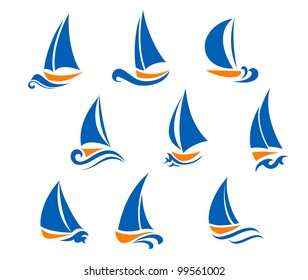 Yachting and regatta symbols for yacht sports design. Jpeg version also available in gallery