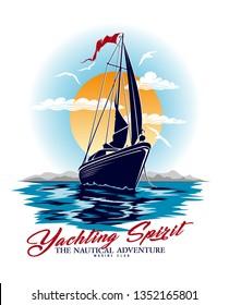 Le yachting spirit.sketch sail design graphique.Peut être utilisé comme motif d'impression de t-shirt.