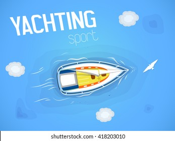 Yachting sport. Yacht in the sea. Top view through the clouds on a white yacht sailing, floating on the waves of the sea. Vector illustration