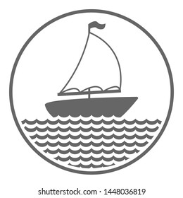 Yachting symbol. Boat with sail. Vector icon.