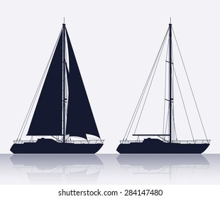 Yachts. Detail vector silhouettes of two luxury yachts.
