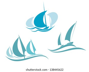 Yachts and sailboats symbols for yachting sport design or logo template. Jpeg (bitmap) version also available in gallery