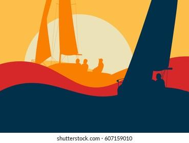 Yachts sailing regatta ocean landscape with sunset vector
