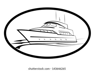 YACHT,YACHTING CLUB BLACK AND WHITE SYMBOL