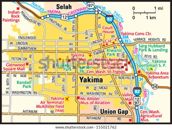 Yakima Washington Area Map Stock Vector (Royalty Free) 155021762 on the nez perce map, yakama vally map, whidbey island map, bremerton map, mossyrock map, cowiche map, hood canal map, wenatchee map, elwha map, chelan butte map, tri-cities map, mount rainier national park map, walla walla map, camano map, austin map, moses lake map, king county map, washington map, north cascades national park map, desert aire map,