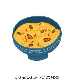 Yakisoba bowl isolated on white background. Vector illustration. Traditional Japanese cuisine dish.