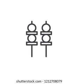 Yakitori skewers outline icon. linear style sign for mobile concept and web design. Skewer canapes line vector icon. Symbol, logo illustration. Pixel perfect vector graphics