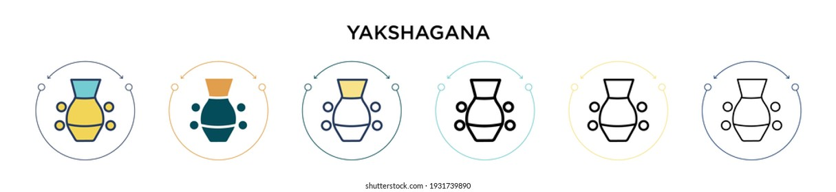 Yakshagana icon in filled, thin line, outline and stroke style. Vector illustration of two colored and black yakshagana vector icons designs can be used for mobile, ui, web