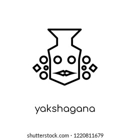 yakshagana icon. Trendy modern flat linear vector yakshagana icon on white background from thin line india collection, editable outline stroke vector illustration