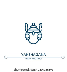 yakshagana outline vector icon. simple element illustration. yakshagana outline icon from editable india concept. can be used for web and mobile
