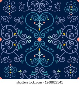 Yakut floral seamless ornament pattern. Yakutia, Republic of Sakha is the largest region of Russia.  Vector illustration.