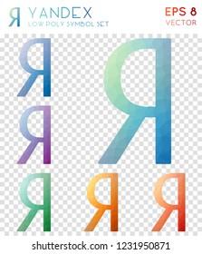 Yandex geometric polygonal icons, brilliant mosaic style symbol collection. Terrific low poly style, modern design.