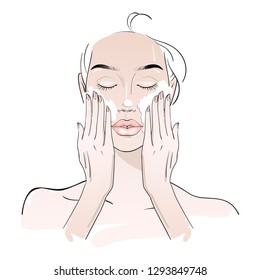 Yang woman cleaning her face with a foam treatment on white. Skin care routine. Fashion woman sketch. Spa beauty concept. Hand drawn vector illustration.