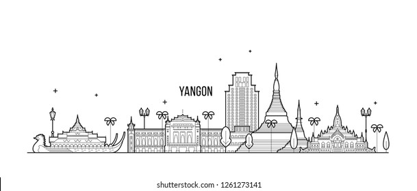 Yangon, Rangoon skyline, Myanmar. This illustration represents the city with its most notable buildings. Vector is fully editable, every object is holistic and movable