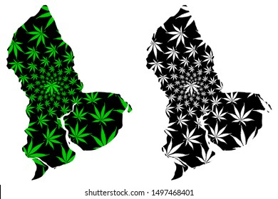 Yangon Region (Administrative divisions, Republic of the Union of Myanmar, Burma) map is designed cannabis leaf green and black, Rangoon Division map made of marijuana (marihuana,THC) foliage,