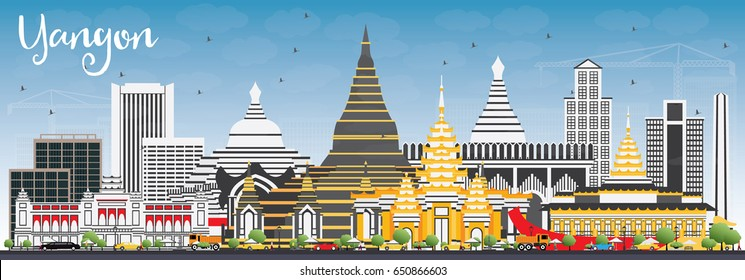 Yangon Skyline with Gray Buildings and Blue Sky. Vector Illustration. Business Travel and Tourism Concept with Historic Architecture. Image for Presentation Banner Placard and Web Site.