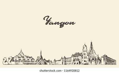 Yangon skyline, Myanmar, hand drawn vector illustration, sketch