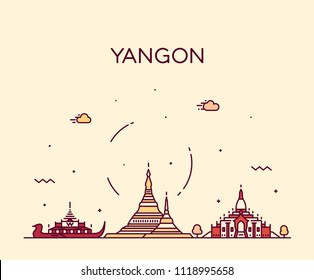 Yangon skyline, Myanmar. Trendy vector illustration, linear style