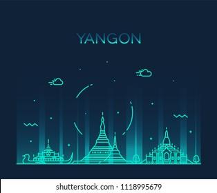 Yangon skyline, Myanmar. Trendy vector illustration, linear style