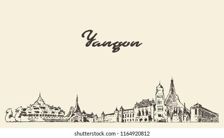 Yangon skyline, Myanmar, vintage engraved illustration, hand drawn