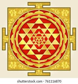 Yantra laksmi, a symbol of wealth and prosperity in Hinduism. Shri-Yantra (Great Yantra) is the oldest sacred symbol.