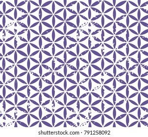 Yantra seamless ornament. Vintage floral pattern in purple color. Vector grungy illustration.